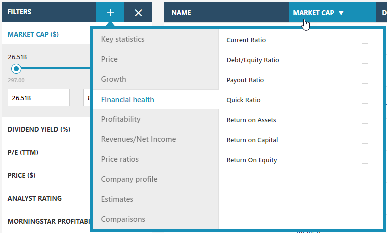 MSN Stock Screener criteria selection form