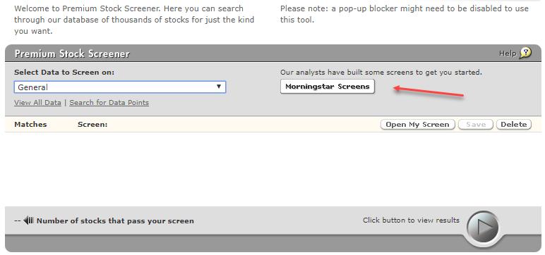 MorningStar Premium stock screener initial form